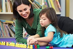 Teacher working on Counting with Child